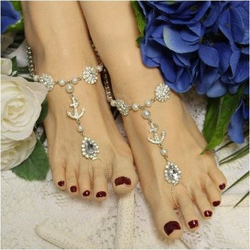 ANCHOR silver Barefoot Sandals - OOAK