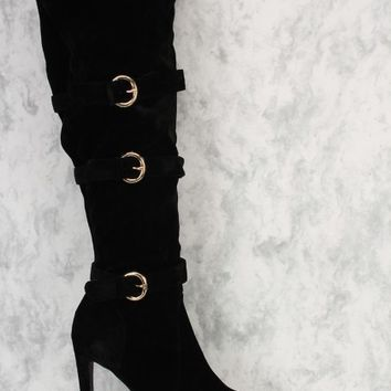Black Knee High Sexy AMI Clubwear Platfrom High Heel Boots Faux Suede