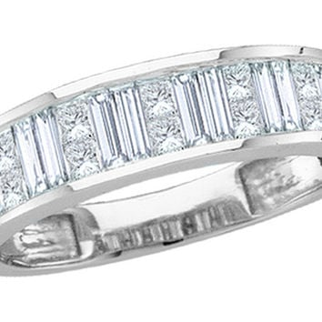14kt White Gold Womens Baguette & Princess Diamond Wedding Anniversary Band 1.00 Cttw Size 5 30495