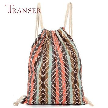 TRANSER Unisex Retro Geometric Backpacks Printing Bags Drawstring Backpack Women School Book String High Quality Fashion Canvas