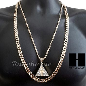 "MEN ICED OUT GOLD ANKH PYRAMID CHARM CUT 30"" CUBAN LINK CHAIN NECKLACE S081G"