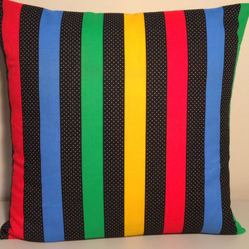 "Handmade Pillow Cover- Bold Colorful Stripes - READY TO SHIP - 16"" X 16"""