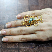 Wire wrapped turquoise gold ring, Matte gold ring jewellery, Brass ring, Wide Statement Ring, Gold Wire Wrap Ring with Turquoise Stones