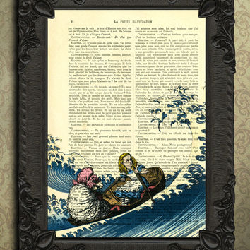 Alice in wonderland Decorations Art Print on a Vintage Dictionary book page 451