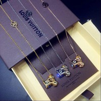LV Woman Fashion Gemstone Chain Plated Necklace