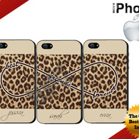 Best Friends iPhone Case - iPhone 4 Case or iPhone 5 Case - Infinity - Leopard Print iPhone Case - Personalized iPhone Case - Three Case Set