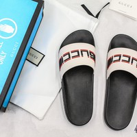 Gucci White Rubber With Red And Black Gucci Stripe Slide Sandal With Blue Box - Best Online Sale