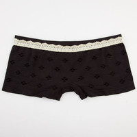 Seamless Pointelle Boyshorts Black  In Sizes