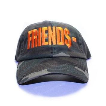 Friends Vlone Inspired Dad Cap In Green Camo