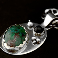 Sterling Silver Necklace with Green Agate and Onyx Pendant and Solid Sterling Silver Bubbles One of a Kind Necklace