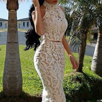 White Halter Neck Lace Sleeveless Bodycon Cropped Top Midi Skirt Set