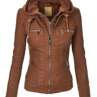 MBJ Womens Faux Leather Motorcycle Jacket With Hoodie