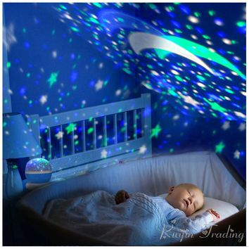 LED Rotating Star Projector Lighting Moon Sky Rotation for Kids, Baby  Night Light | Battery Operated