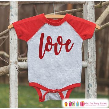 Kids Valentines Outfit - Red Love Script Valentine's Day Shirt or Onepiece - Boy or Girl Valentine Shirt - Baby, Toddler, Youth - Red Raglan
