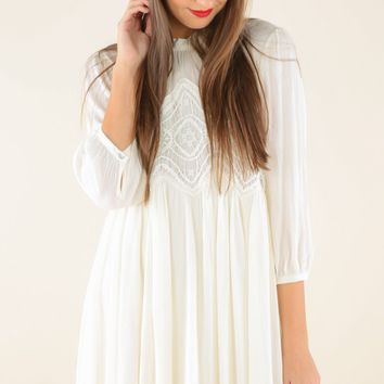 Boho Haven Quarter Sleeve Dress-Ivory
