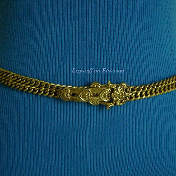 Rare GOLDETTE Victorian Style Double Strand Gold-Plated Cuban/Curb Link Chain W/Buckle Detailed Figural Face Lion/Gargoyle Belt or Necklace