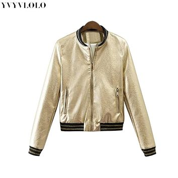 2017 Spring New Brand Women Bomber Jacket  Womens Leather Jacket Metal Color Single Breasted  female jacket JQ-9063