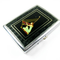 Vintage Art Deco Cigarette Case / Woman Playing Harp /  Collectible / FREE SHIPPING - Le Cas de Cigarettes.