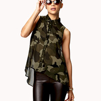 Spiked Camo Trapeze Shirt | FOREVER 21 - 2052215741