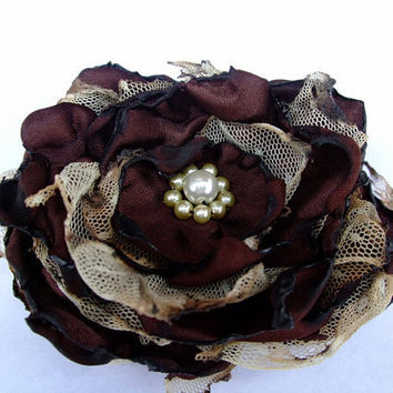 Brown flower with tea stained tulle accessory by OurPlaceToNest