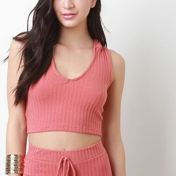 Rib Knit V Neck Hooded Crop Top