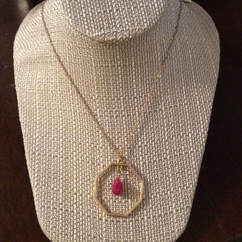 Gold Octagon With Pink Drop Necklace