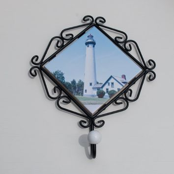 New Presque Isle Lighthouse Coat or Robe Hook, Ceramic Tile in Wrought Iron Frame, Hand Imprinted Photograph