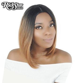Rockstar Wigs 4Colors Short Straight Ombre Synthetic Hair Wigs For Black Women Central Parting Cosplay Hair