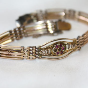 Antique 10kt Gold Ruby Bracelet, Victorian Gatelink, Signed Vintage Jewelry, 1910 Bracelet