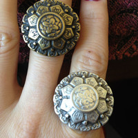 Antique Look Flower Disk Silver Plated or Brass Adjustable Statement Ring