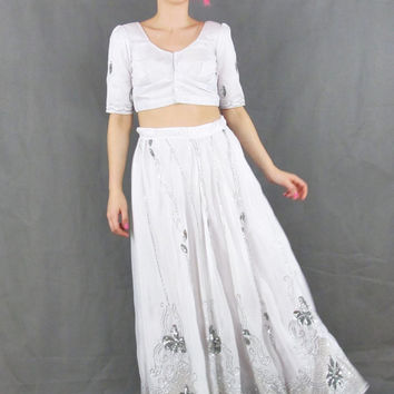 Vintage Indian Wedding Dress Bohemian Sequin Sari Two Piece Set Crop Top Full Maxi Skirt White Silver Sequins Hippie Wedding Gown (XS/S)
