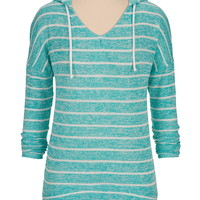 high-low striped hacci pullover
