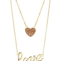 Rhinestone Heart & Love Layered Necklace