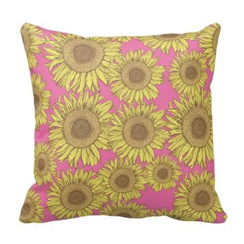 Modern Yelllow Sunflower Pattern Throw Pillow