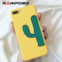 Fashion Hard PC printing Cartoon Green Cactus Phone Case For iPhone 6 6S Plus 7 7Plus 8 8Plus Ultra Thin Matte Back cover Shell