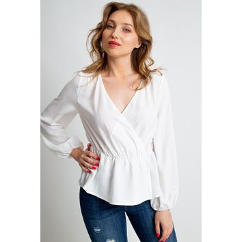 Long Sleeve Wrap Top - White  ONLY 2 S LEFT