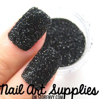 Dark Night - Black Textured Caviar Raw Nail Glitter Mix 3.5 Grams from nailartsupplies