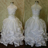 Real Photos Flower Girl Dress with Pencil Edge Ruffled Miniature Wedding Gown Girls' Party Dress with Beadings