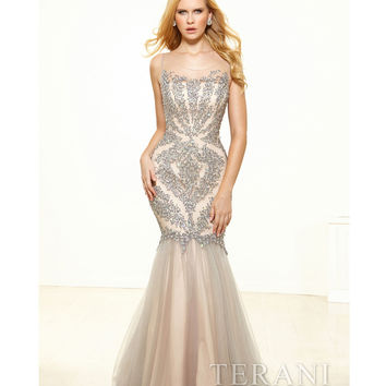 Terani p3117  Silver Mesh & Crystal Portrait Trumpet Prom Gown 2015 Prom Dresses
