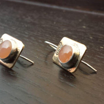 Pretty Peach Moonstone Drop Earrings for a business women!