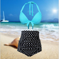 Sexy Plus Size Swimwear Women Bikini High Waist Swimsuit 2017 New Halter Top Bathing Suits Retro Dot Push Up Bikini Set