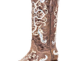 Corral Boots Women's Sequence Silver Cross Cowgirl Boots