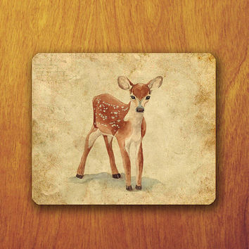 Deer Mouse Pad Vintage Old Antiques Paper Baby Cute Animal Painting MousePad Office Pad Work Accessory Personalized Custom Gift