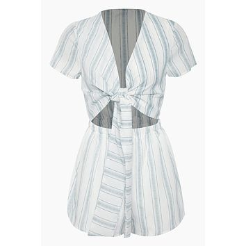 Wait For Her Romper - White/Blue Stripes