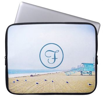 Aqua sky beach photo custom monogram laptop sleeve
