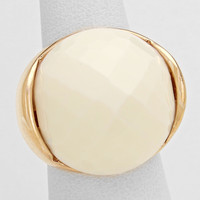 Gold & White Crystal Ball Silver Stretch Ring
