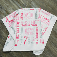 Personalized Baby Girl Blanket with Weight & Birth Date