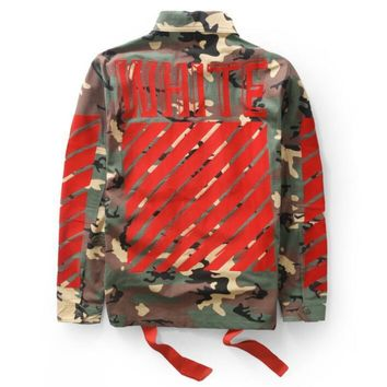 OFF White High Quality Fashion Women Men Personality Print Long Sleeve Camouflage Cardigan Jacket Coat