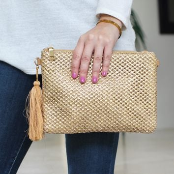 Sparkle Straw Clutch with Tassel