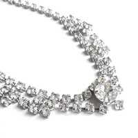 Vintage Rhinestone Necklace -  Silver Tone 1950s Hollywood Regency Costume Jewelry / Raised Diamonds